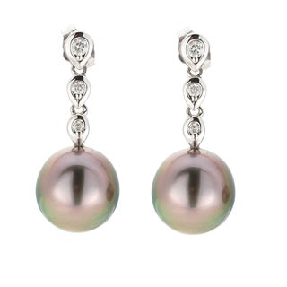 Kabella 14K White Gold Black Southsea Pearl and 1/4ct TDW Diamond Drop Earrings (I-J, I1-I2)