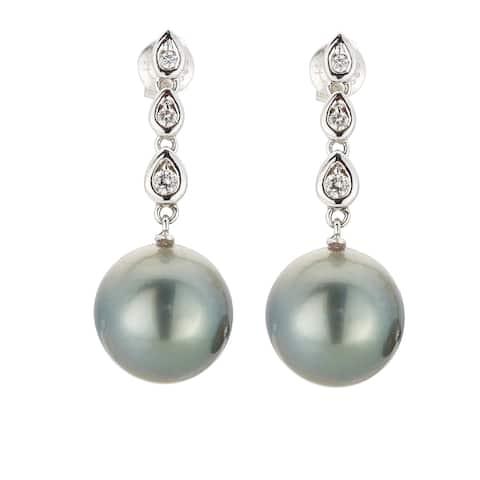 Kabella 14k Gold Black Southsea Pearl and Diamond Drop Earrings