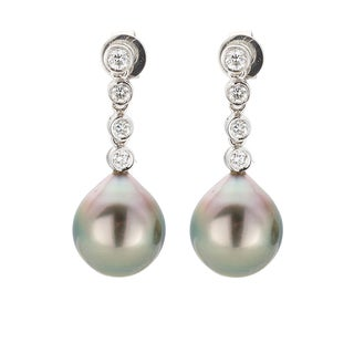 Kabella 18K White Gold Black Southsea Pearl and 2/5ct TDW Diamond Drop Earrings (H-I, SI1-SI2)