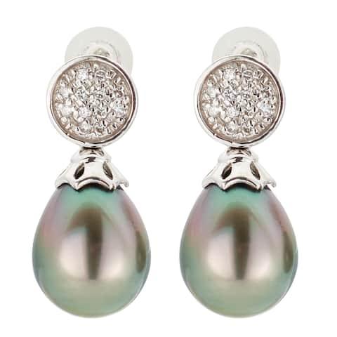 Kabella 18K White Gold Black Southsea Pearl and 1/4ct TDW Diamond Dangle Earrings
