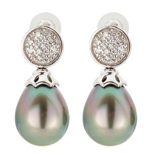 Kabella 18K White Gold Black Southsea Pearl and 1/4ct TDW Diamond Dangle Earrings (H-I, I2-I3)