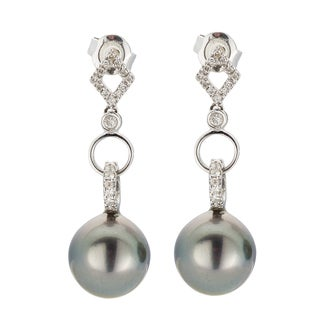 Kabella 18K White Gold Black Southsea Pearl and 1/4ct TDW Diamond Link Earring (I-J, I2-I3)