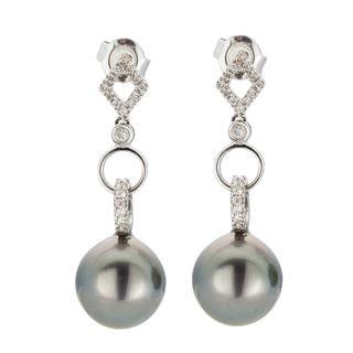 Kabella 18K White Gold Black Southsea Pearl and 1/4ct TDW Diamond Link Earring|https://ak1.ostkcdn.com/images/products/13403530/P20099202.jpg?impolicy=medium