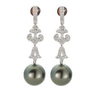 Kabella 18K White Gold Black Southsea Pearl and 1/2ct TDW Diamond Antique-Style Drop Earrings (I-J, I1-I2)