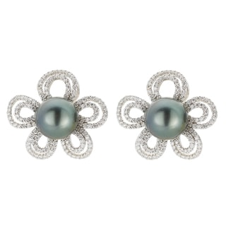 Kabella 18k White Gold Black South Sea Pearl and 3ct TDW Diamond Flower Earrings