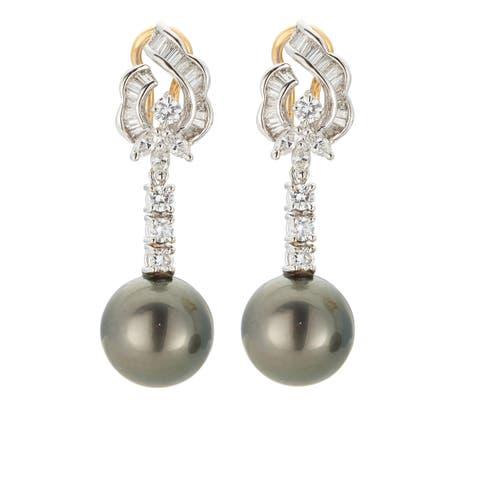 Kabella 18K Yellow Gold Black Southsea Pearl and 1 1/2ct TDW Diamond Drop Earrings