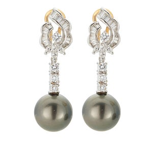 Kabella 18K Yellow Gold Black Southsea Pearl and 1 1/2ct TDW Diamond Drop Earrings (H-I, SI2-SI3)