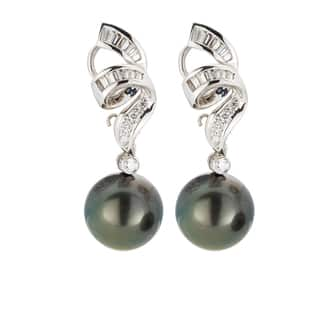 18kt White Gold 3/4ct TDW Black South Sea Pearl and Diamond Earrings|https://ak1.ostkcdn.com/images/products/13403547/P20099206.jpg?impolicy=medium