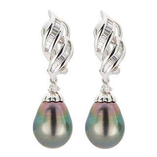 Kabella 18K White Gold Black Southsea Pearl and Diamond Drop Earrings