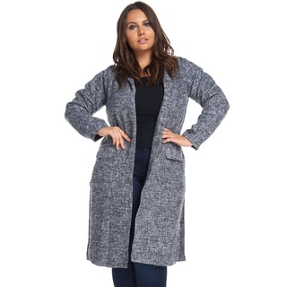Hadari Women's Plus Size Trendy Winter Warm Black Wool Coat Jacket