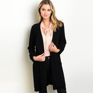 Shop The Trends Women's Black Rayon 3/4-sleeve Woven Cardigan