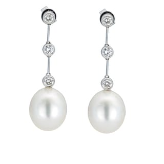 Kabella 18K White Gold Southsea Pearl and 3/4ct TDW Diamond Drop Earrings