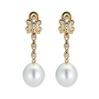 Kabella 14K Yellow Gold Southsea Pearl and 1/2ct TDW Diamond Drop Earrings