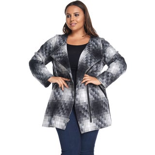 Hadari Women's Plus Size Fashion Zipper Slim Black Coat Jacket