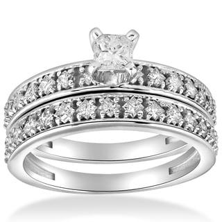 10k White Gold 1 cttw Princess Cut Diamond Engagement Wedding Ring Set