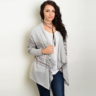 Shop The Trends Women's Plus-size Long Sleeve Tribal Print Slub Knit Cardigan