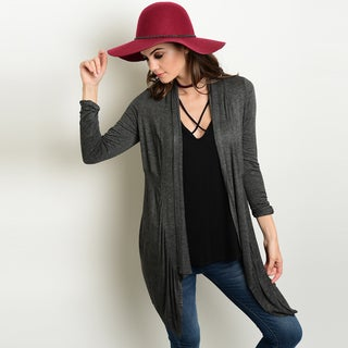 Shop The Trends Women's Grey Rayon and Spandex 3/4-sleeve Knit Jersey Cardigan