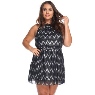 Hadari Women's Plus Size Sexy Silver Chevron Party Evening Short Dress