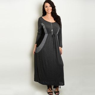 Shop The Trends Women's Rayon Plus Size Long-sleeve Maxi Dress