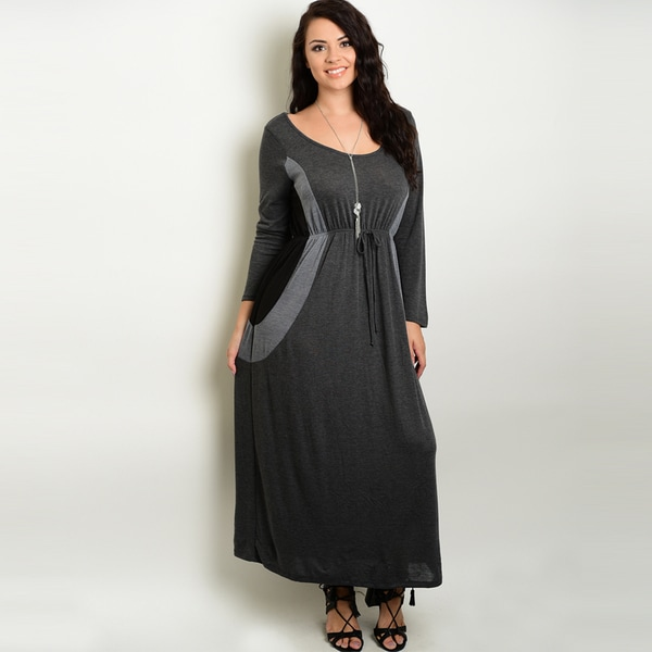 Shop The Trends Women's Rayon Plus Size Long-sleeve Maxi Dress ...