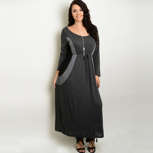 52f5b75228 Shop Shop The Trends Women s Rayon Plus Size Long-sleeve Maxi Dress ...