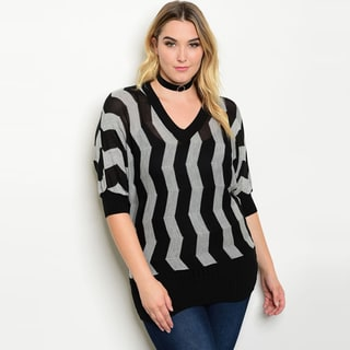 Shop the Trends Women's Black and Grey Knit Plus-size 3/4-sleeve Zig-zag Print Sweater