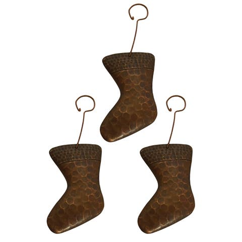 Premier Copper Products Christmas Stocking Hand-hammered Copper Ornaments (Pack of 3)