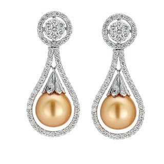 Kabella White Gold Diamond and Golden Southsea Pearl Earrings