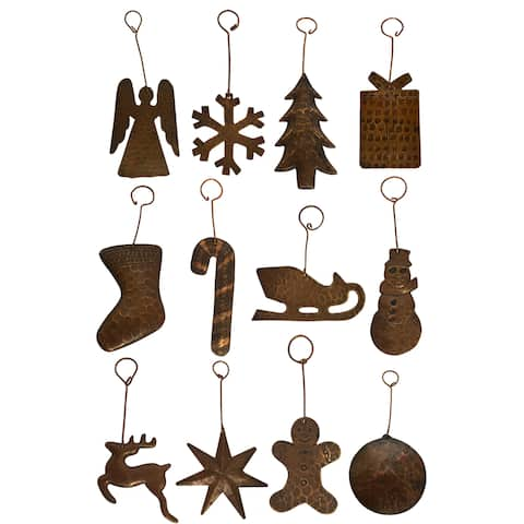 Handmade Copper Christmas Ornament, Set of 12 (Mexico)