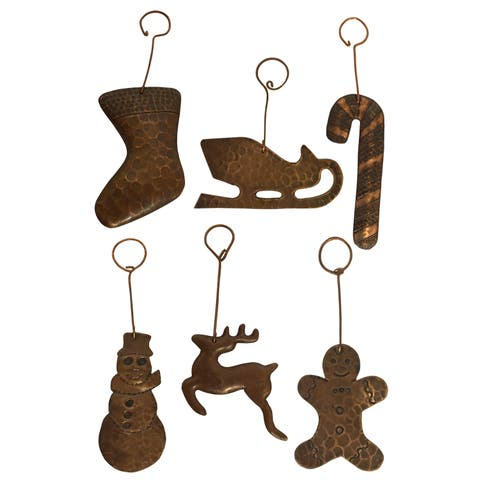 Copper Hand-hammered Christmas Ornaments (Pack of 6)