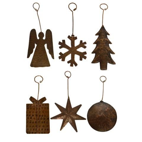 Hand-hammered Copper Christmas Ornaments (Assortment of 6)