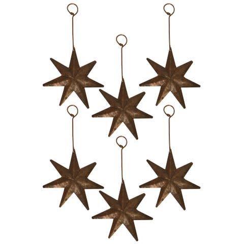 Handmade Copper Star Christmas Ornament, Set of 6 (Mexico)