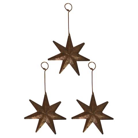 Handmade Brown Copper Star Christmas Ornament, Set of 3 (Mexico)