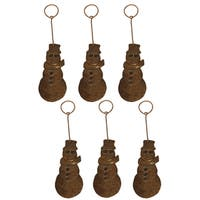 Copper Hand-hammered Snowman Christmas Ornament (Pack of 6)