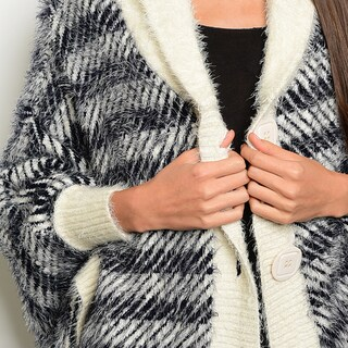 Shop The Trends Women's Acrylic Knit 3/4-sleeve Front-button-close Fuzzy Cardigan Sweater