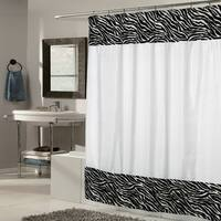 White Fabric With Zebra Faux Fur Trim Shower Curtain
