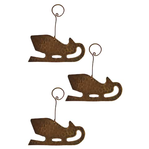 Copper Hand-hammered Sleigh Christmas Ornament (Pack of 3)