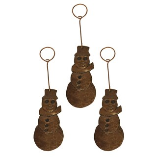 Hand-Hammered Copper Snowman Christmas Ornament (Pack of 3)