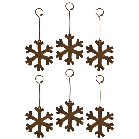Copper Hand-hammered Snowflake Christmas Ornament (Pack of 6)
