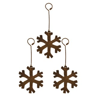 Oil-rubbed Bronze Hand-hammered Copper Snowflake Christmas Ornament (Pack of 3)