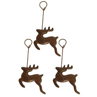 Hand-hammered Oil-rubbed-bronze Recycled Copper Reindeer Christmas Ornaments (Pack of 3)