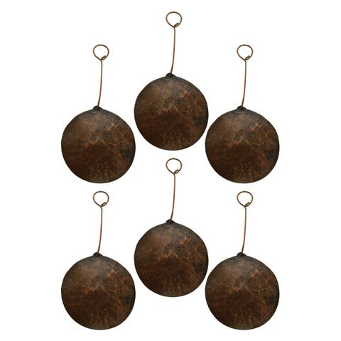 Brown Copper Hand-hammered Round Christmas Ornaments (Pack of 6)