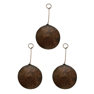 Hand-hammered Round Copper Christmas Ornaments (Set of 3)