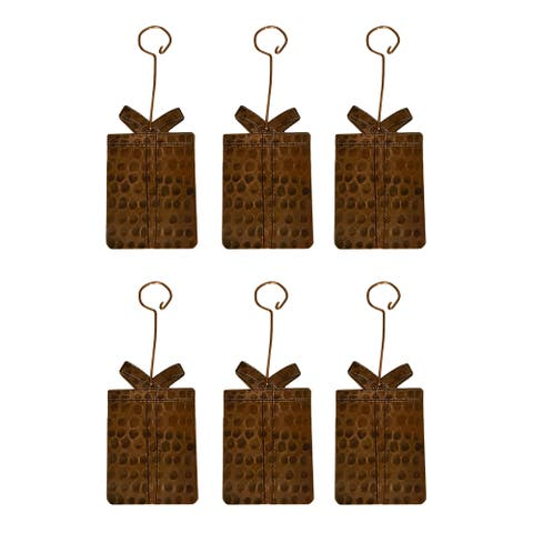 Handmade Copper Present Christmas Ornament, Set of 6 (Mexico)