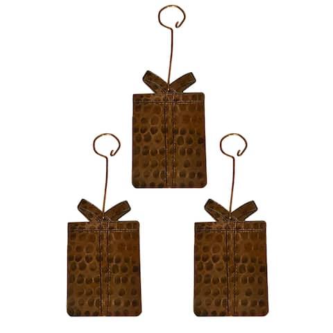Handmade Copper Present Christmas Ornament, Set of 3 (Mexico)