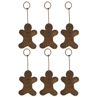 Copper Hand-hammered Gingerbread Christmas Ornament (Pack of 6)