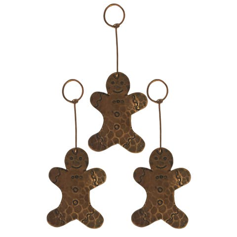 Handmade Brown Copper Gingerbread Christmas Ornament, Set of 3 (Mexico)
