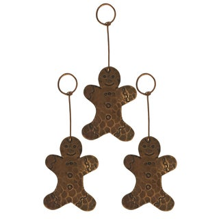 Brown Hand-hammered Copper Gingerbread Christmas Ornament (Pack of 3)