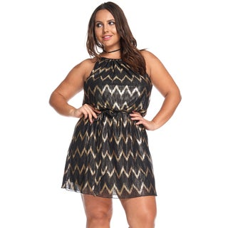 Hadari Women's Plus Size Sexy Gold Chevron Party Evening Short Dress