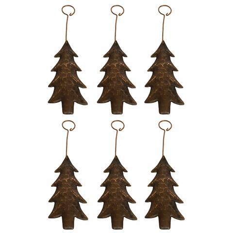 Handmade Brown Metal Tree Ornament, Set of 6 (Mexico)